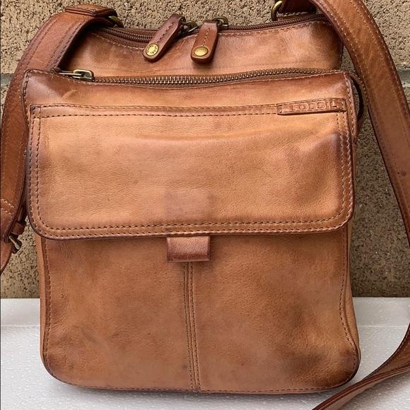 Fossil Handbags - Vintage Fossil Organizer crossbody bag tan